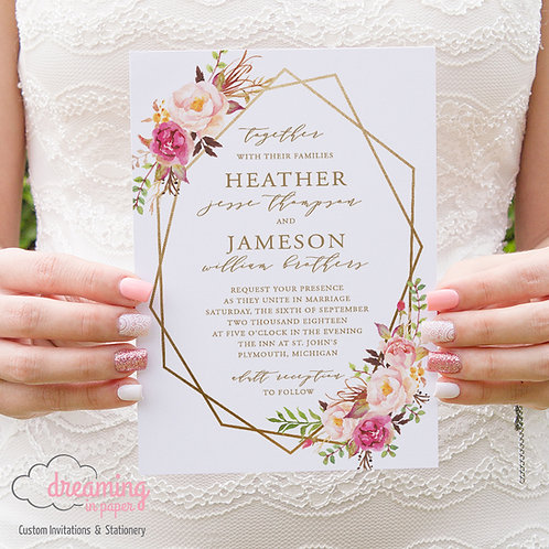 Boho Romantic Floral Geometric Wedding Invitation
