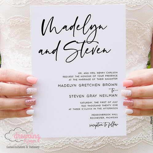 Modern Sinthya Script Wedding Invitations 362