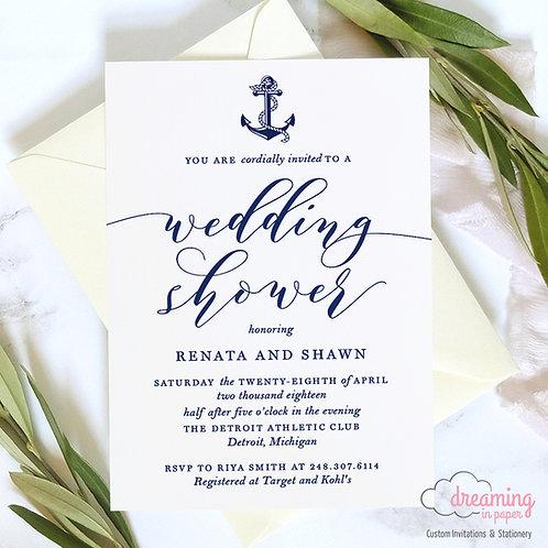 Nautical Modern & Simple Wedding Shower Invitation