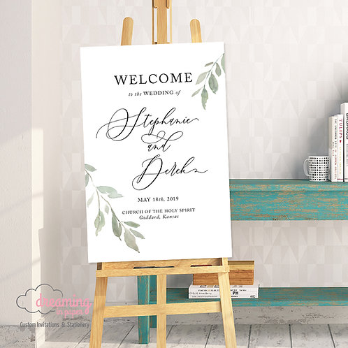 Minimalist Greenery Leaf Wedding Welcome Sign - 201