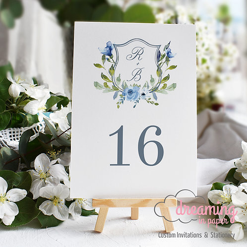 Dusty Blue Wedding Crest Table Numbers