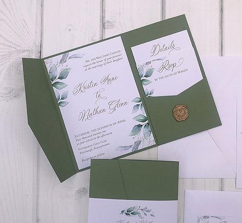 Golden Greenery Lisima Pocket Wedding Invitations 365P