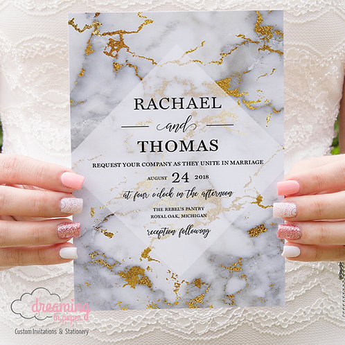 Marbled Gold Veining Diamond Wedding Invitations 089