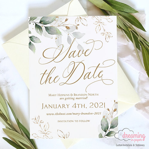 Golden Greenery Lisima Botanical Save the Dates 325