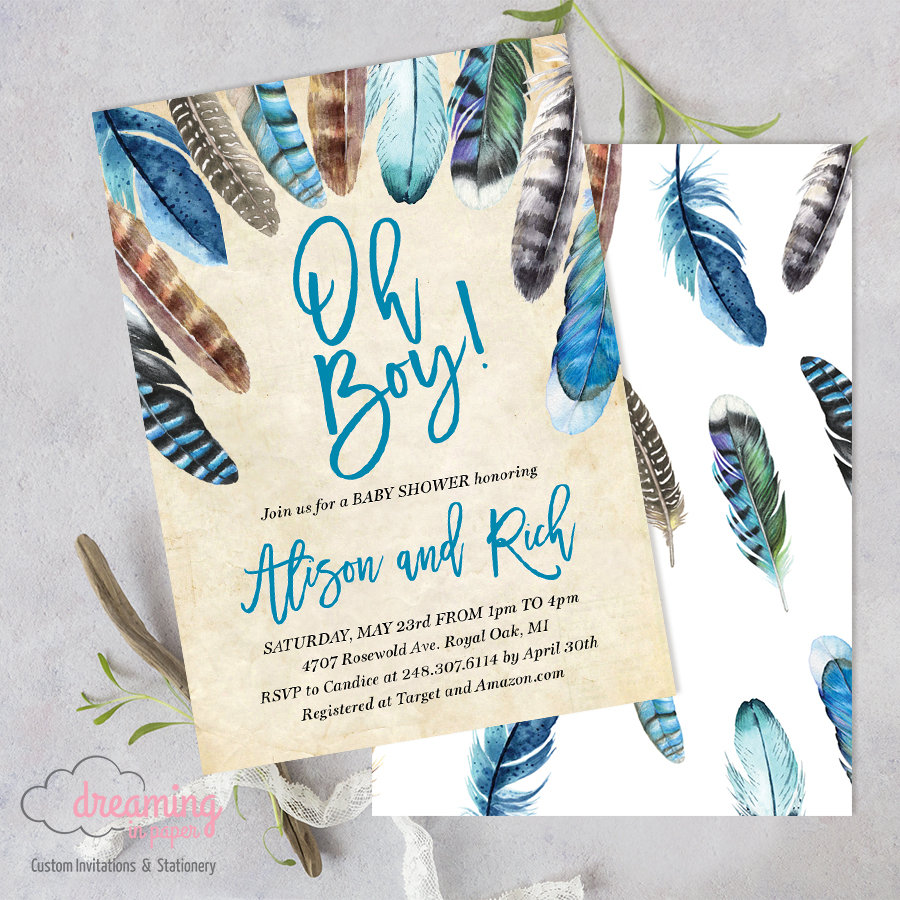 Boho Tribal Feathers Oh Boy Baby Shower Invitation Dreaminginpaper