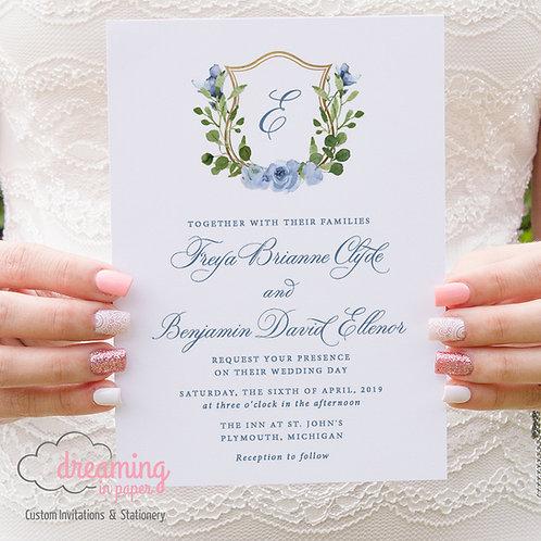 Wedding Crest Dusty Blue Gold Greenery Invitations 288