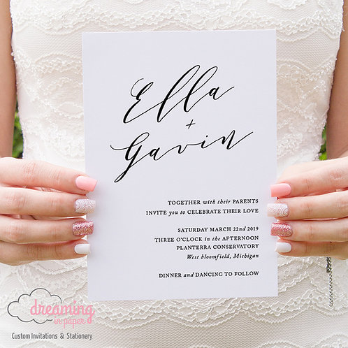 Ella Poetic Simplistic and Sweet Wedding Invitation Set