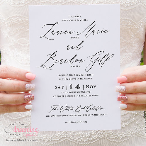 Elegant Minimalist Modern Script Black and White Wedding Invitations 339