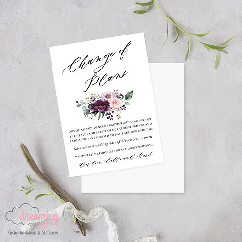 Purple Velvet Change of Plans Wedding Date Change Postponement Cards