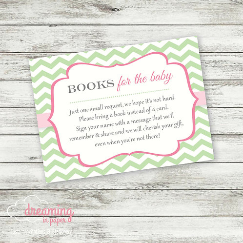 Books for Baby Card - Coordinates with Tutu Chevron Baby Shower