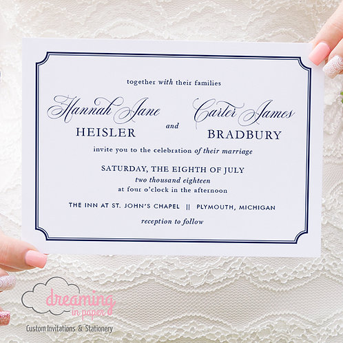 Classic Border Mozart Script Wedding Invitation