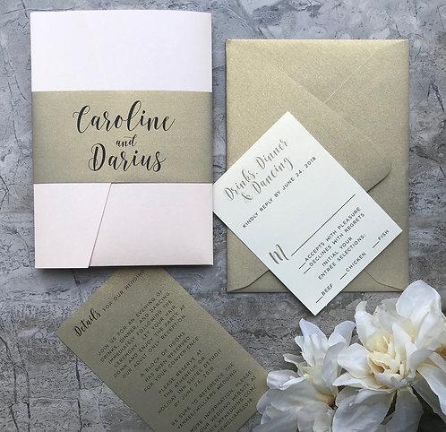 Soft Coral Blush and Gold Modern Pocket Wedding Invitations