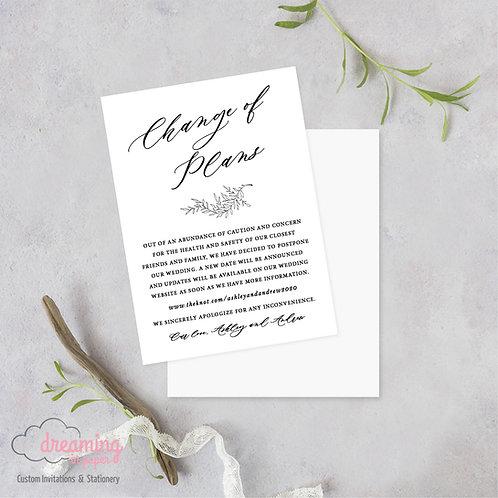 Change of Plans Wedding Date Change Postponement Cards