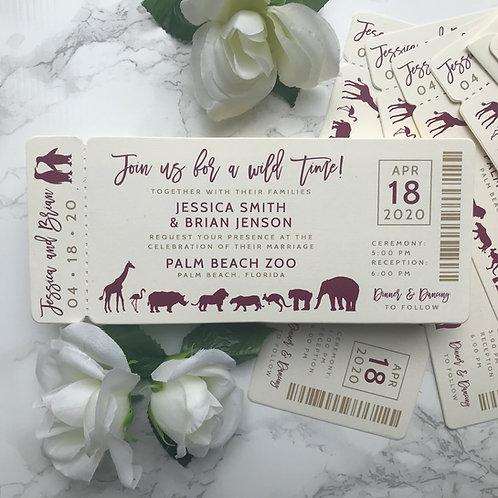 Zoo Ticket Wedding Invitations Die Cut 291