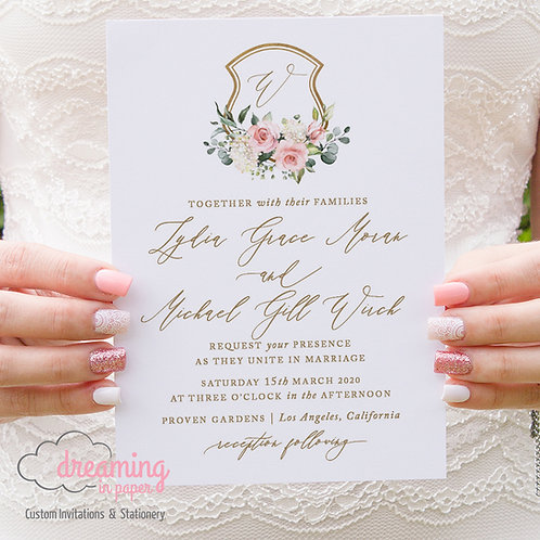 Romantic Blush Gold Wedding Crest Monogram Wedding Invitations 300