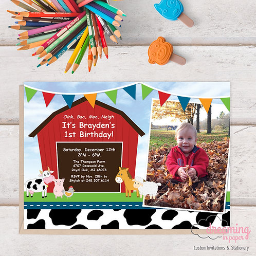 Cute Farm Barn Barnyard Animals with Photo Birthday Invitation