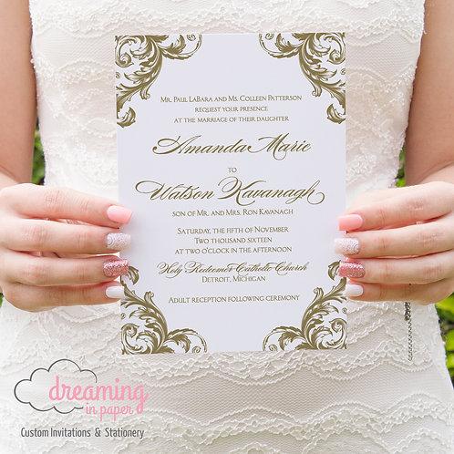 Baroque Antique Vintage Renaissance Wedding Invitation Set