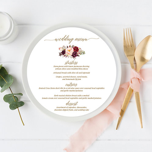 Boho Marsala Circle Wedding Menu Card