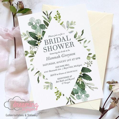 Bursting Greenery Diamond Bridal Shower Invitation