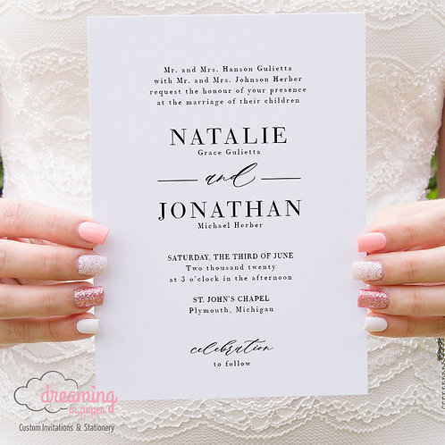 Classic Black and White Wedding Invitations 338