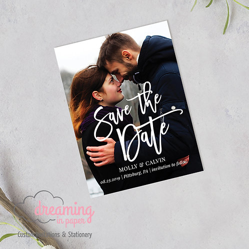Vertical Bold Script Photo Save the Date Magnets