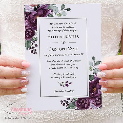 Deep Purple Plum Floral Classic Wedding Invitations 367