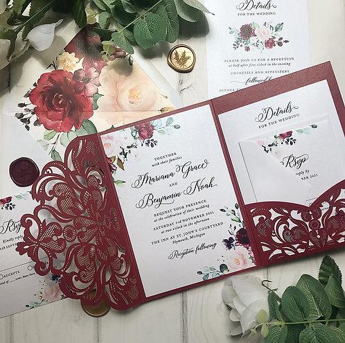Burgundy Shimmer and Floral Lasercut Pocket Wedding Invitations 251
