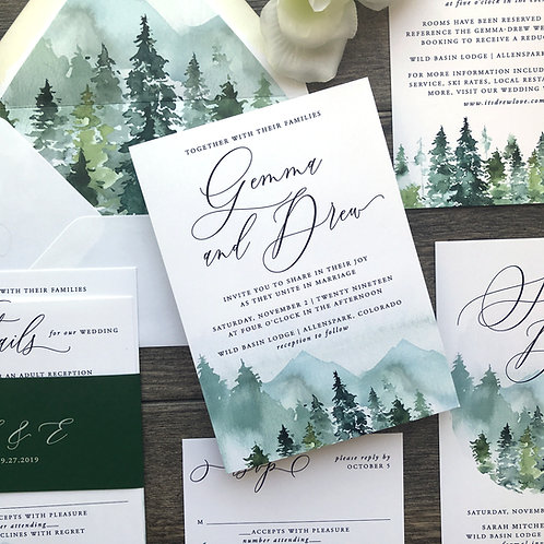 Rustic Mountain Forest Watercolor Wedding Invitations 217