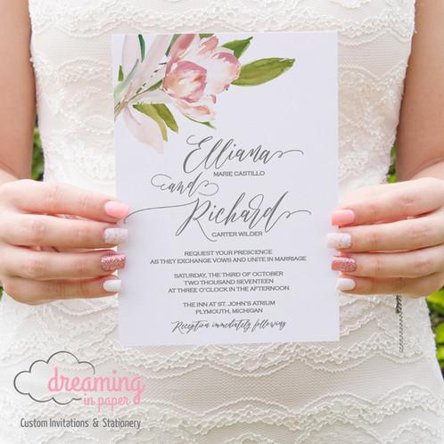Wedding Invitation Tulip Fl Pink White Green Handwritten
