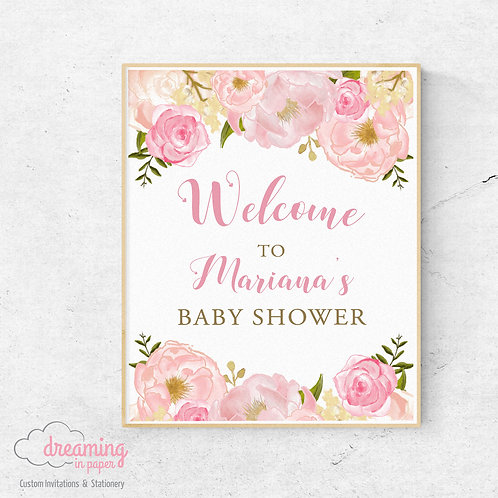 Peony Baby Shower Welcome Sign