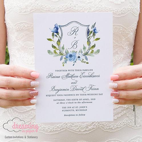 Dusty Blue Watercolor Wedding Crest Monogram Wedding Invitations