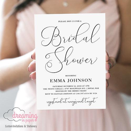 Handwritten Script Calligraphy Black and White Bridal Shower Invitation