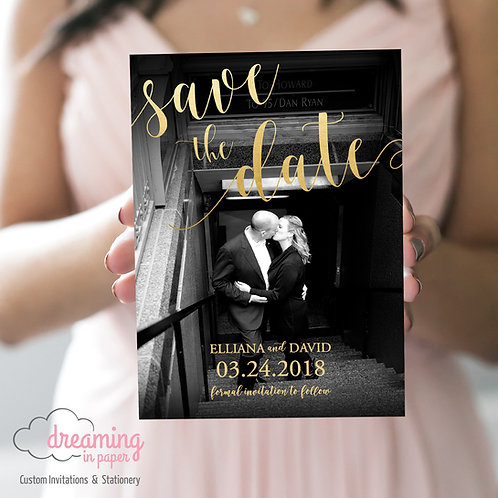 Photo Save the Dates with Faux Gold Foil Script