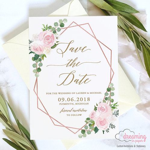 Blush Eucalyptus Geometric Save the Dates