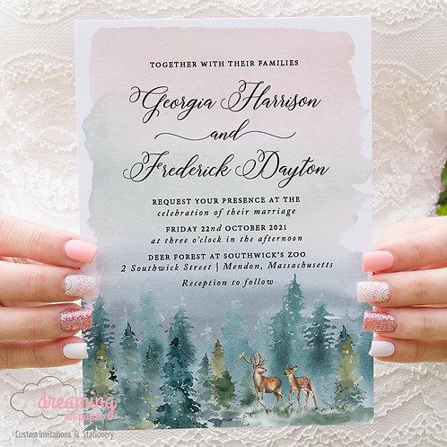 Deer Forest Invite, Deer Invitations, Deer Forest Wedding, Southwick's Zoo, Zoo Wedding, Forest Wedding