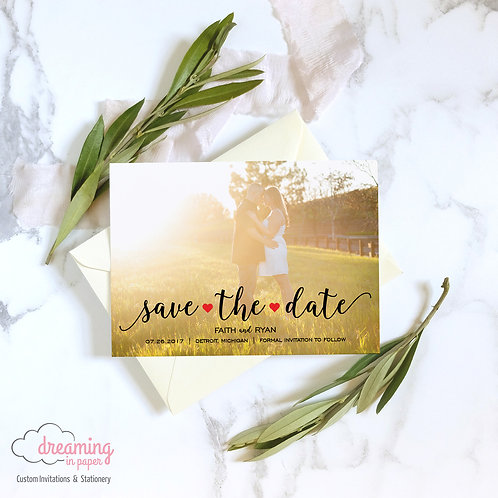 Blingtastic Hearts Photo Save the Dates