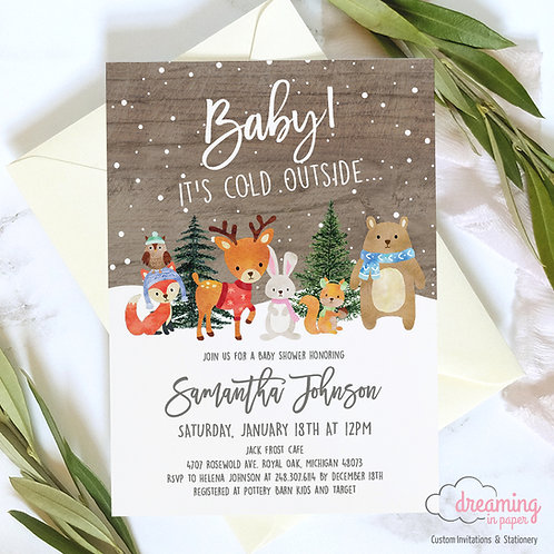 Baby Shower Invitations, Baby Shower, Baby It's Cold Outside, Woodland Animals, Forest Animals