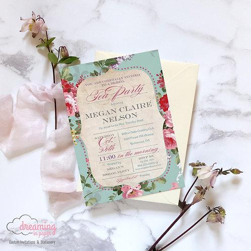 Antique Tea Party Bridal Shower Invitation
