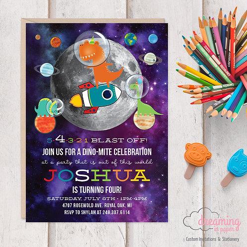 Dinosaurs in Space / Dino Astronaut Birthday Invitation