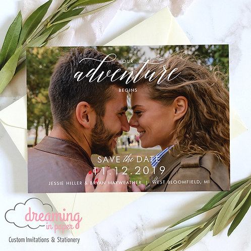 Our Adventure Begins Photo Save the Date Cards