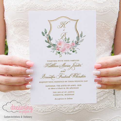 Blush Floral Gold Wedding Crest Wedding Invitations 197