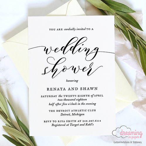 Modern & Simple Wedding Shower Invitation