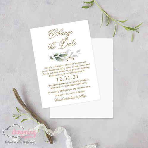 Golden Greenery Wedding Date Change Postponement Cards 365