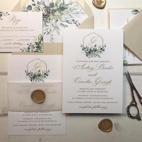 Geometric Hexagon Wedding Crest Greenery Wedding Invitations 391