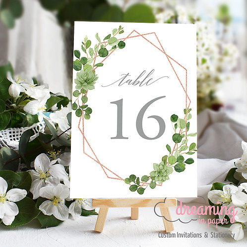 Rose Gold Geometric Greenery Table Numbers