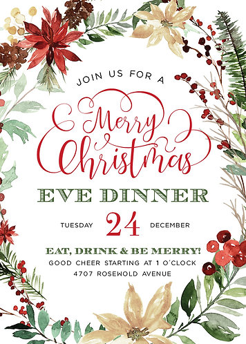Merry Christmas Party Dinner Invitation