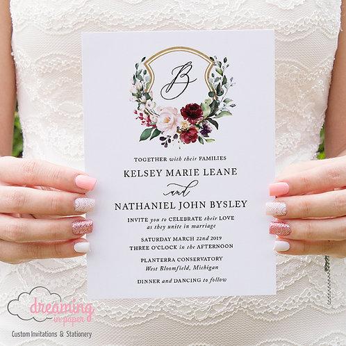 Burgundy Blush Lisima Floral Golden Wedding Crest Invitations 267