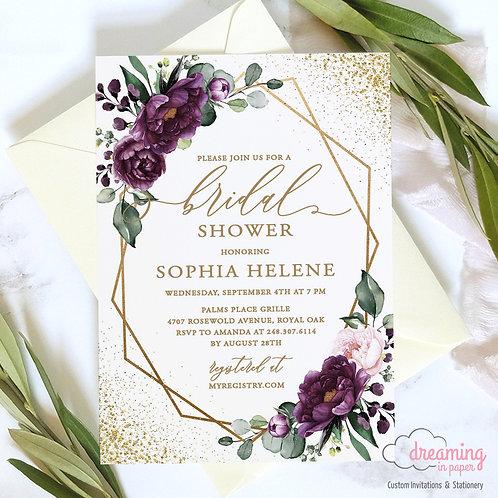 Purple Plum Floral Deep Velvet Gold Geometric Bridal Shower Invitation