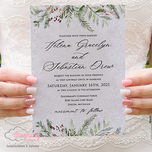 Frosty Winter Green Pine Wedding Invitations 386