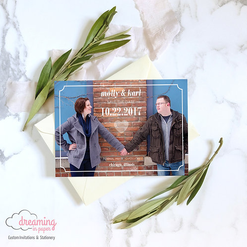 City-chic Modern Heart Photo Save the Dates